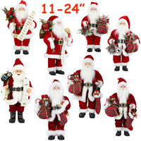 "11-24"" Santa Claus Doll Xmas Decor Standing Father Christmas Figure Ornament LOT"