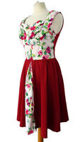 Lindy Bop Size 12 14 Red White Floral Sleeveless Fifties 50s Flared Dress Party