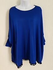 New Ladies Top Size M/L Baggy tassel top Royal with matching tights