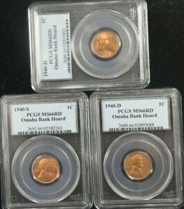 1940-D, & 1940-S 1C Penny Lincoln Omaha  Bank Hoard PCGS MS66RD SET OF 3