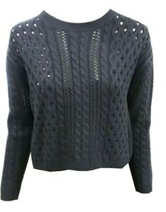 Women Ladies ex M&S navy cable short jumper with button back