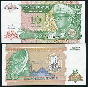 Congo Zaire 10 nouveaux makuta 1993.06.24. Mobutu P49 Signature 9 UNC
