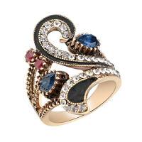 Ruby resin wrap pave setting red crystal rhinestone women statement fashion ring
