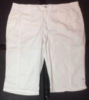 "Gloria Vanderbilt White Bermuda Walking Shorts 24W? No Size Tag 46"" Waist"