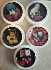 Coming up Roses by Richard Stacks - SET of FIVE Cat Plates - Danbury Mint plates