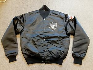 VTG 80s 90s Starter NFL LA Los Angeles Raiders Nylon Satin Bomber Jacket Medium