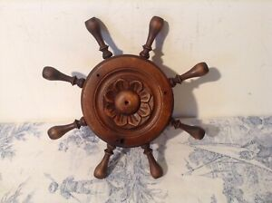 Vintage French Carved Wooden Ships Wheel Light Ceiling Rose (3452a)