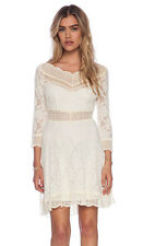 FREE PEOPLE TEA SIZE LARGE L LACE DRESS IVORY LACEY AFFAIR  $128