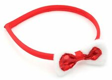 Zest Christmas Alice Band with Spotty & Fluffy Bow Hair Accessory Red & White