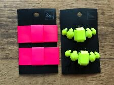 Women's H&M clip on shoe accessories X2 pairs neon pink bows & yellow jewels