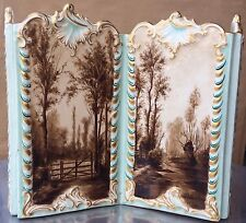 Superb Luneville France Faience Hand Painted Scenic Rococo Letter Holder, c 1900