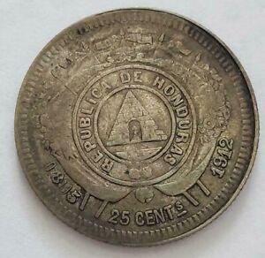 HONDURAS RARE 25 CENTS 1912 KEY DATE ERROR