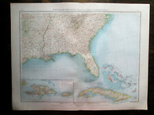 Antique Big Size map North America. Usa. South East States Of Usa. Cuba. 1898