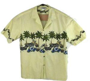 Pacific Legend Mens Hawaiian Short Sleeve Shirt Motorcycle Palm Chest Band XL