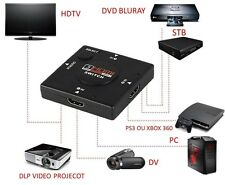HDMI 1080p interruttore SELETTORE SPLITTER Hub 3 input 1 output SWITCHER BLURAY SKY PS3