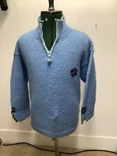 pachamama Hand Knitted 100% Wool Blue Chunky Knit Jumper Pullover Flower