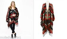 Charlie Paige Red /Black Aztec Shawl / Wrap /Cape  New with Tags