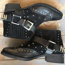 ASOS BLACK BUCKLE ANKLE WESTERN HARNESS SUEDE BULLET STUDDED BOOTS UK 6
