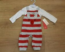 BABY BOYS BNWT AGE 0-3 MONTHS CHRISTMAS DUNGAREES OUTFIT SET