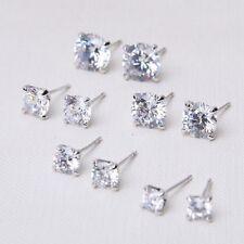 Genuine Sterling Silver 925 Stud Earring Cubic Zirconia Crystal Solid Back