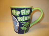 NEW Sonoma Life Style Ceramic Flip Flop Island Coffee Tea Mug 16 oz Palm Trees