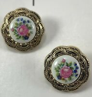 """Two Round 3/4"""" Hand Painted Look Pink Flowers Gold Toned Filigree Border Buttons"""