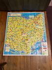 VINTAGE 1966 CARTOON MAP WONDERFUL WORLD OF OHIO CLEVELAND LAKE ERIE COLUMBUS