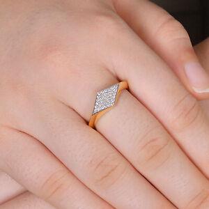 Diamond Pave Solid 14K Yellow Gold Ring Handmade Jewelry Women Valentine Gift