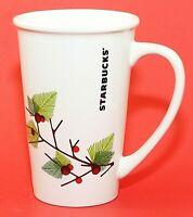 Starbucks Holiday Holly Tall Cup Mug Ceramic 2011 White Large 21 Oz. Size EUC