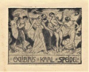 Karl Otto Speth: Exlibris / Drei Paare, vor Bäumen einherschreitend