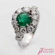 Ring 585/14K Weißgold Smaragd Emerald Kolumbien Diamanten Brillanten Größe 52
