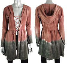 Earthbound Trading Co Womens Hooded Cardigan Sweater L Lace Up Tie Dye Boho