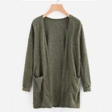 Women Long Sleeve Knitted Cardigan Sweater Pocket Outwear Coat Jacket Casual Top