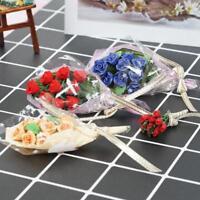 4 Farben Clay Rose Blumenstrauß für 1/12 Maßstab Puppenhaus Miniatur Wohnkultur