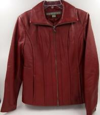 Kenneth Cole Reaction Women's Red Genuine Leather Jacket Zip Front size M