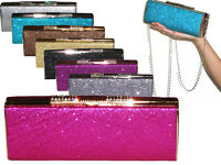 ladies hard case sparkle clutch diamanté bag gold silver black purple grey