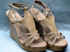 aa7b4726d65627 Juicy Couture Size 9 Medium Natural Kid Suede Wedge Platform Sandal
