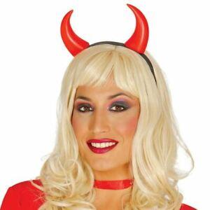 Red Plastic Devil Horns on Black Headband Halloween Unisex Fancy Dress Accessory