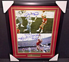 JOE MONTANA DWIGHT CLARK THE CATCH DUAL AUTOGRAPHED 16x20 PHOTO FRAMED STEINER