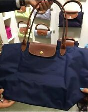 New Longchamp Le Pliage Tote Bag Nylon Large Shopping Handbag Navy Blue L