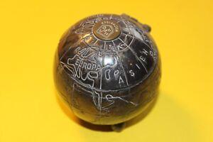 Ancienne Globe Bureau Boîte HAPAG Weltreisen 8cm Argenté 30-50erJ ? Bureau