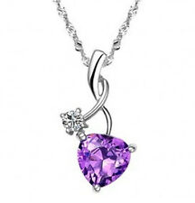 White Gold Sterling Silver Heart Shaped Amethyst Pendant Crystal Necklace G11