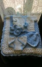 BEAUTIFUL HAND CROCHET BABY  boys BLANKET set of 5, HELP A CANCER SURVIVOR!