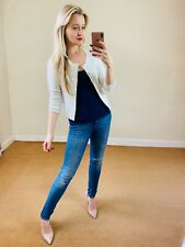 Moth Anthropologie XS Cropped White Cardigan Sweater Top Knit