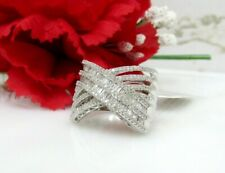 Natural Genuine Diamond Crossover Ring (1.00 ctw) Round & Baguette Silver Size 7