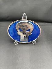 The Punisher Blue Silver Metal Belt Buckle Marvel 2011 Measures 4 x 2 7/8 In.