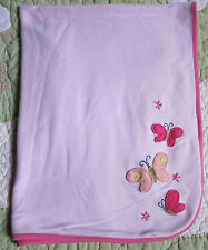 Carter's Baby Pink Cotton w Felt Butterflies & Flowers Baby Girl Blanket Vguc