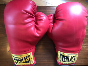 Vintage Yellow Label EVERLAST Boxing Gloves Red 14 ounce VGC! (11)
