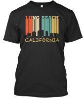 Vintage Long Beach California Skyline - Premium Tee T-Shirt