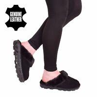 Women Real Genuine Sheepskin Leather Fur Mule Warm Slip On Slipper Shoe Size 3-8